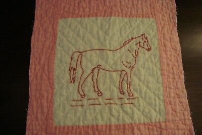 ANTIQUE 1930s REDWORK HORSE QUILT BLOCK ~ DENSE QUILTING