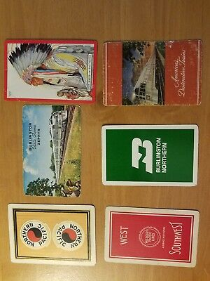 6 Single Swap Railroad Assorted Vintage Playing Cards Train Ads