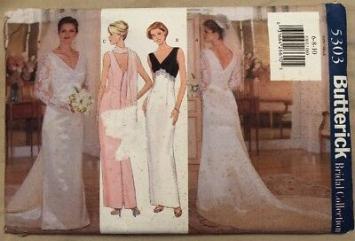 NIP Butterick Sewing Pattern 5303 Misses' Formal Dress Bridal 6-8-10 UNCUT