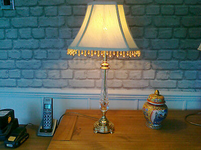 """A 24"""" High Brass + Crystal Lamp With 12"""" Wide Beaded Shade"""