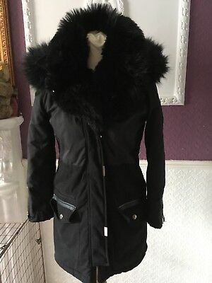 River Island Girls Black Coat Fur Lined Age 11/12 Years