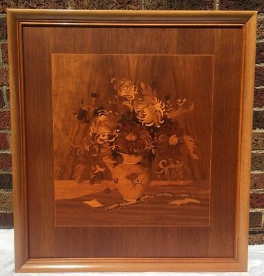 Buchschmid & Gretaux Marquetry Wood Inlay Framed with Vase of Chrysanthemums