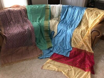 Lot Of 5 Vintage Indian Saree Fabric Craft Used Art Multicolor Sari Beaded