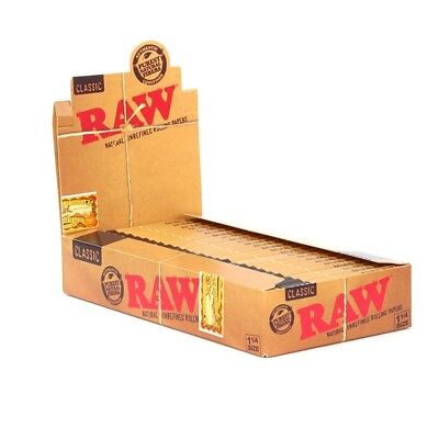 24x AUTHENTIC RAW ROLLING PAPER CLASSIC 1 1/4 NATURAL UNREFINED