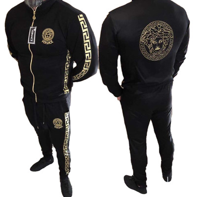 MEN VERSACE TRACKSUIT Thin Jacket Pants Long Sleeve Size S M L XL XXL in  Black