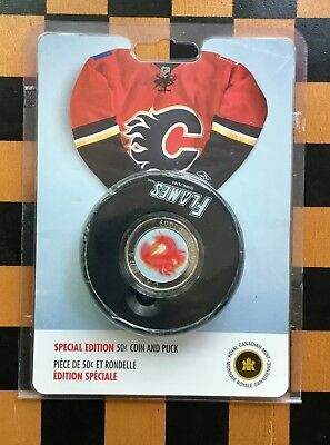 2009 CANADA NHL CALGARY FLAMES 50 cent  COIN AND PUCK SPECIAL EDITION-No Tax