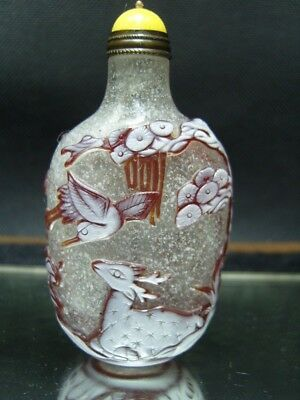 Exquisite Chinese Peking glass hand carved snuff bottle- See Video 4