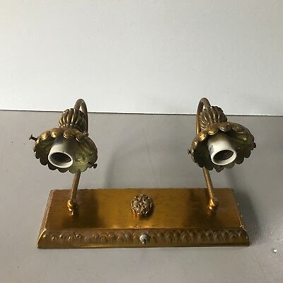 Antique mid century modern brass plated wall light fixture sconce double socket