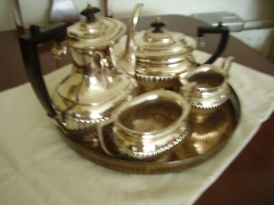 Vintage EPNS silver plated 4pce tea set with tray (Teapot,sugar and cream)