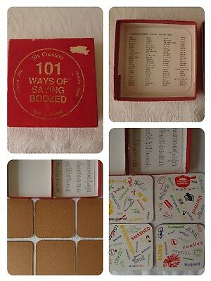 Vintage Drinks Mats Coasters x 6 Boxed 101 Ways To Say Boozed Avon Brand Ltd
