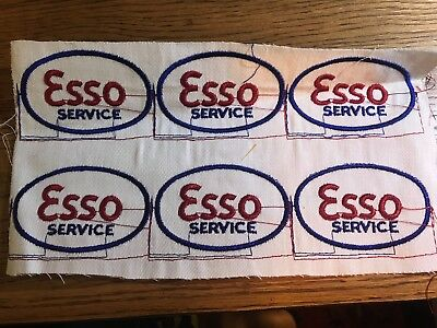 ESSO (SO) Standard Oil Service Patches embroidered, new sheet of 6 Gas Station