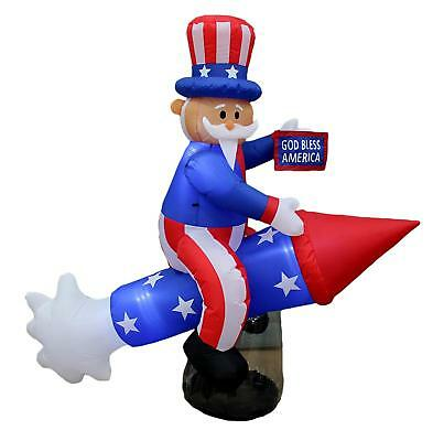 BZB Goods 6 Foot Long Lighted Patriotic Independence Day 4th of July Inflatable
