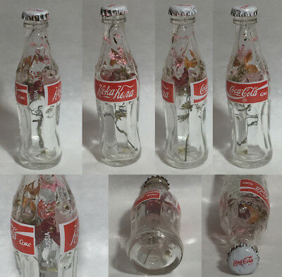 Russia Coke Coca-Cola Mini Miniature dried pink red Flowers crystal glass bottle