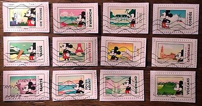 Serie 12 Timbres Mickey Et La France 2018