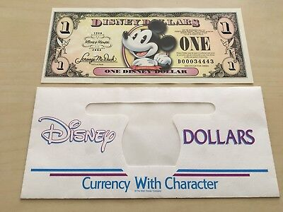 2008 Mickey c. 1930 Mickey Mouse Disney Dollar $1 Bill **D00034443** W/ ENVELOPE