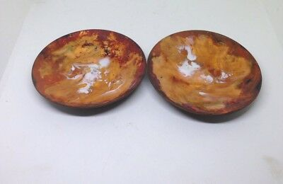 Pair Of Vintage Copper And Enamel Red Orange Paint Plates