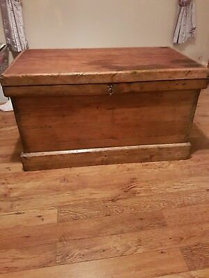 Antique Victorian Pine Chest/Blanket Box Restored With Key