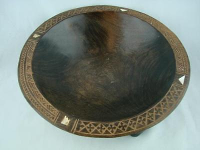 Antique Hand Carved Fijian South Pacific, Carved Shell Inlay Kava Wooden Bowl