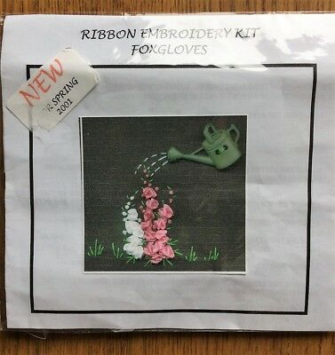 Ribbon embroidery kit foxgloves