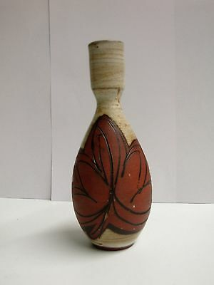 1970s English Briglin Studio Pottery small vase with leaf design