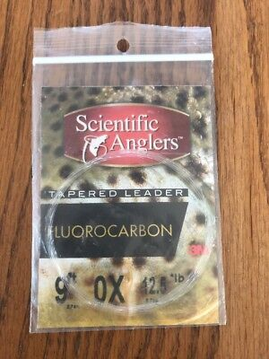 NEW 1 PACK SCIENTIFIC ANGLERS 100/% FLUOROCARBON 9/' FT 5X 3.2 LB TAPERED LEADER