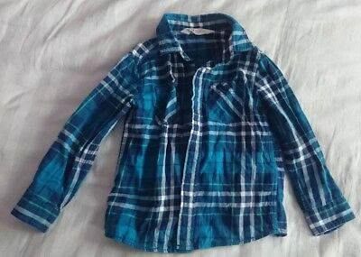 H&M Boys blue Green Check Shirt NWOT 2-3 Years