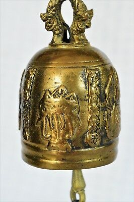 Vintage Brass Temple Bell Wind Chime Thailand Siam Elephant Praying Buddha