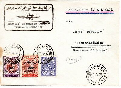 Persien Erstflug 1928! Persia First Flight Cover Teheran Buchir! E14