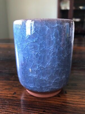 Chinese signed cobalt crackle glaze pottery tea mug