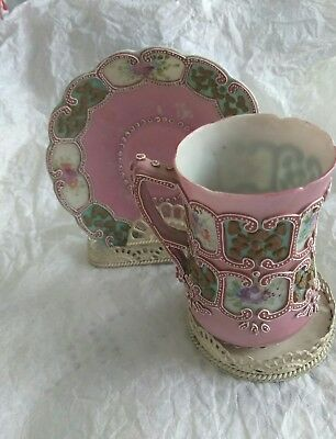 Antique Pink Moriage Demitasse Cup & Saucer with Roses and Beading Gorgeous