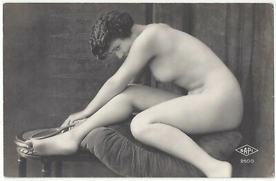 1920 French NUDE Photograph - Brunette with Beautiful Curves