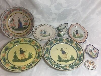 Bulk Collection of Quimper Pottery - Bowl, Plates, Trinket Dish