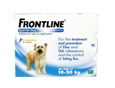 Frontline Spot-On Flea, Tick, Lice Treatment - 6 pipettes Medium Dogs 10-20Kg