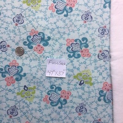 "Vintage Full Feed Sack 1940's Fancies on Light Aqua  47"" x 37"""