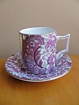 Old Foley James Kent Purple Paisley #5641 Demitasse Cup & Saucer England