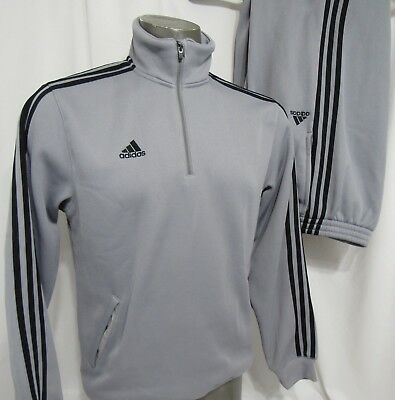 Adidas Gray Insulated Polyester 2 Piece Warm Up Suit Size M