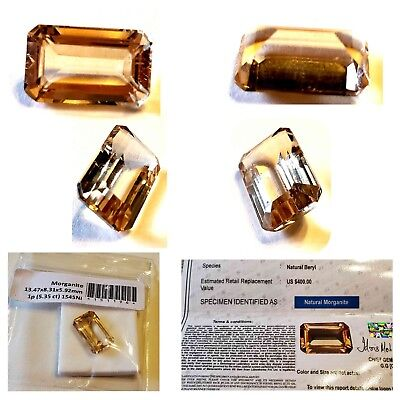 5.35 CT,  Cushion GSL Certified morganite, Insurance replacement value $400.00
