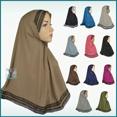 One Piece lace Amira Hijab Jilbab Abaya Scarf pull on ready made instant