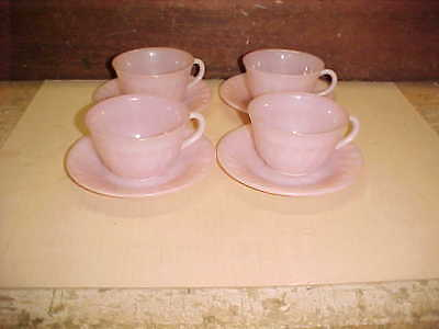 Lot of 4 Pink Fire King Swirl Pattern Cups & Saucers