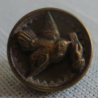19th Century Antique Bird Button - Delivering Letter to Person's Hand 5/8""