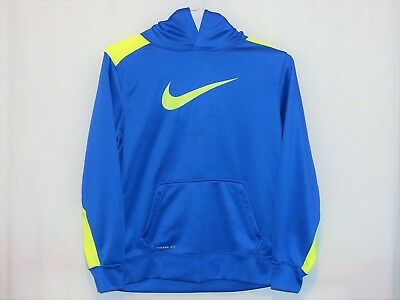 Nike Therma-Fit Royal Blue/volt Yellow Knockout 3.0 Pull-Over Hoodie – Youth Xl