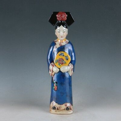 China Famille Rose Porcelain Handmade Ancient Chinese Concubines Statue +d