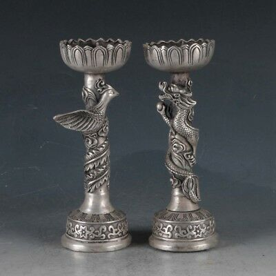 Chinese Silvering Copper Dragon&PhoenixCandlestick Made During The DaMing Xuande