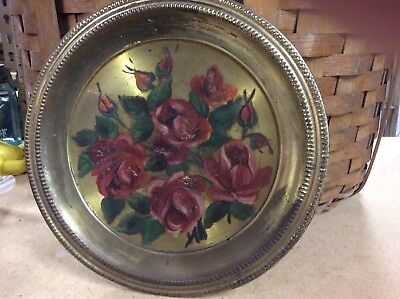 Vintage Brass Flue Cover with Handpainted Red Roses