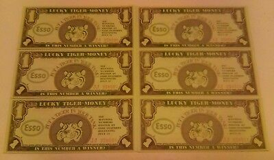 6 ESSO Gas Advertising Lucky Tiger Contest Money Bills Consecutive Numbers 1966