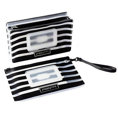 Wet Wipes Pouch Case Set of 2 (fits 30 & 70 wipes) - Black Stripes Monochrome