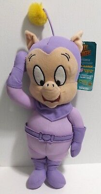 "Duck Dodgers Porky Pig Plush Purple Space Cadet 15"" Looney Tunes NEW w/ tags"