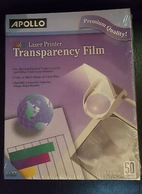 "Apollo Color Laser Printer Transparency Film 8.5 x 11"" - 50 Sheets Free shipping"