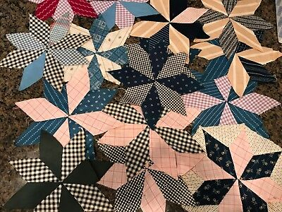 Antique Quilt Blocks Eight 8-Point Stars Scrappy Hand Pieced 42!  Nine inches ea