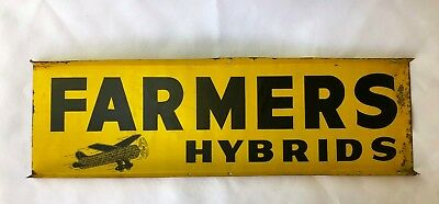 1950's FARMERS HYBRIDS seed corn Farm Double Sided Flanged Advertising Tin Sign